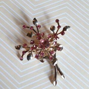 Vintage Coro pink floral brooch